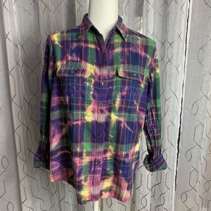 Repurposed Chaps Flannel Shirt Bleached Large